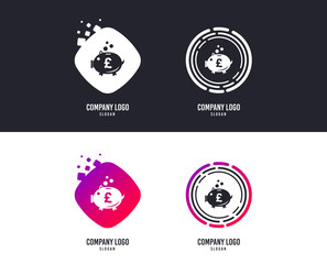 Logotype concept. Piggy bank sign icon. Moneybox pound symbol. Logo design. Colorful buttons with icons. Vector