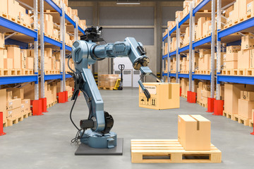 Robotic arm with cardboard box. Automatic warehouse concept. 3D rendering