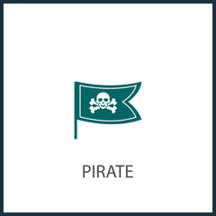 Pirate flag vector symbol flat icon, skull crossbones, bones shape label, web ribbon, app emblem logo design element, illustration sign, shape badge isolated on white, danger and warning symbolic