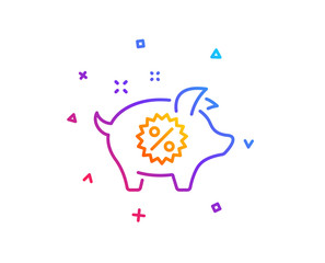 Piggy sale line icon. Shopping discount sign. Clearance symbol. Gradient line button. Piggy sale icon design. Colorful geometric shapes. Vector