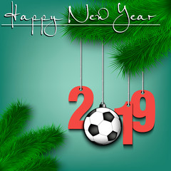 Soccer ball and 2019 on a Christmas tree branch
