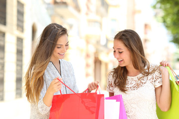Two shoppers looking at shopping bags content