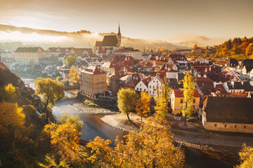 Historic town of Cesky Krumlov at sunrise, Bohemia, Czech Republic