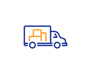 Truck transport line icon. Transportation vehicle sign. Delivery symbol. Colorful outline concept. Blue and orange thin line color icon. Truck transport Vector