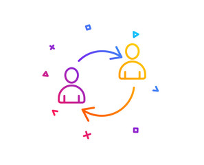Teamwork line icon. User communication or Human resources. Profile Avatar sign. Person silhouette symbol. Gradient line button. User communication icon design. Colorful geometric shapes. Vector