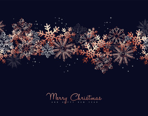 Christmas and New Year copper snow greeting card