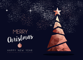 Christmas and new year copper luxury greeting card