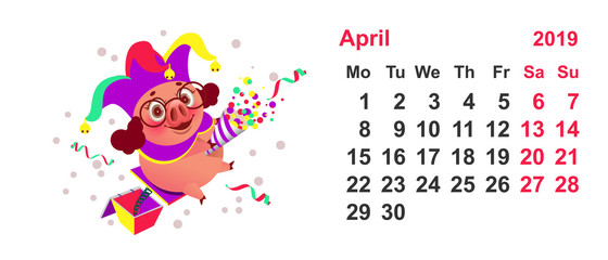 Pig clown calendar april 2019 year. Fools Day