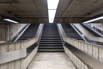 Concrete stairs leading out of underground train station
