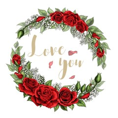 Love you postcard wreath with red rose flowers bouquet and lettering