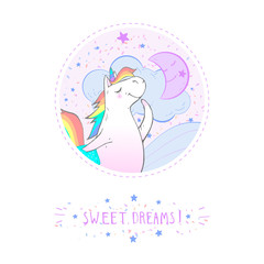 Lamas personalizadas infantiles con tu foto Vector sticker or icon with hand drawn cute unicorn, moon and text - SWEET DREAMS! On withe background. For your design. Cartoon style. Colored.