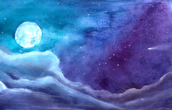 Moon among stars at night in blue gouache background