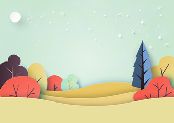 Seasons change from fall to winter background paper art style.