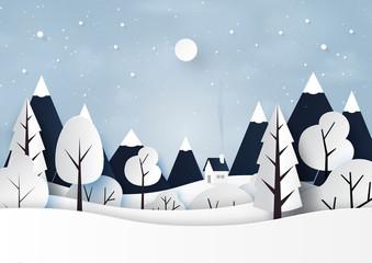 Snow and winter season landscape paper art style