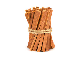 Sandalwood Sticks in a Bundle Isolated on White.