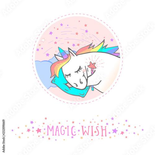 Vector sticker or icon with hand drawn sleepingunicorn,magic