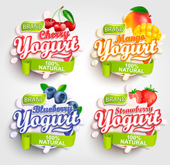 Mango, cherry, strawberry and blueberry Yogurt label with splash, Fresh and Natural,for your brand,logo and template,label,emblem for groceries, stores and packaging, advertising.Vector illustration.