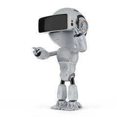 mini robot with vr headset