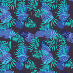 Tropical palm leaves, jungle leaves vector floral pattern background. Leaves texture pattern.Watercolor floral background.