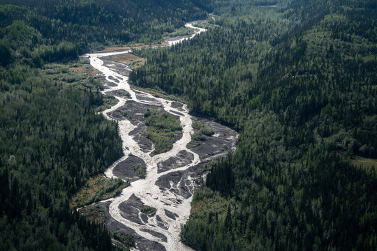 Aerial view of the braided Kennicott River near McCarthy Alaska