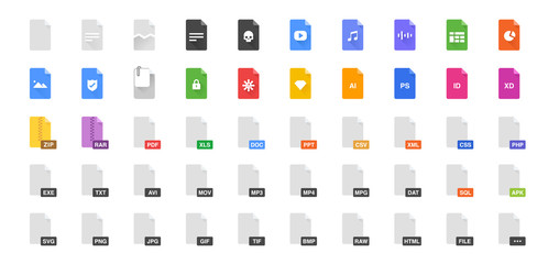 50 Document formats vector illustration icon set. Included the icons as file, types, kind of files and more.