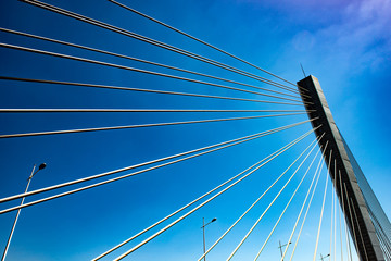 Cable-stayed bridge piers and cable-stayed cables under the blue sky