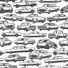 Old retro cars and vintage automobile pattern