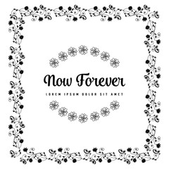 Elegant floral frame for now forever card vector collection