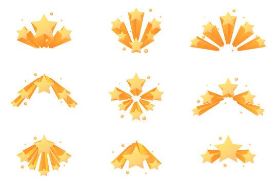 Fireworks stars explosion burst set vector illustration