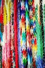 Fotobehang Paradijsvogel Colorful Senba-zuru, Origami of Orizuru or Crane paper fold.