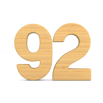 Number ninety two on white background. Isolated 3D illustration