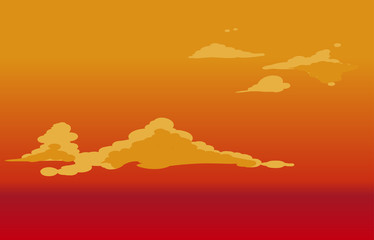 Vector red sky clouds. Anime clean style. Background design