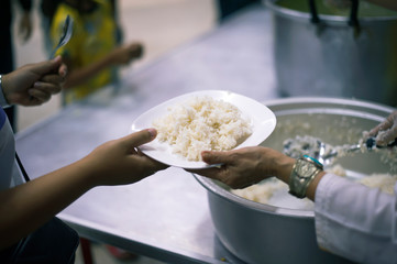 Donate food to people in society : From the philanthropist to help : Homeless Concepts and Poverty