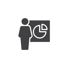 Presentation vector icon. filled flat sign for mobile concept and web design. Man avatar and pie chart diagram simple solid icon. Symbol, logo illustration. Pixel perfect vector graphics