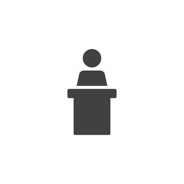 Podium speech vector icon. filled flat sign for mobile concept and web design. Speaker podium simple solid icon. Tribune symbol, logo illustration. Pixel perfect vector graphics