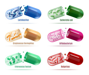 Medicines with Probiotics Bacteria Vector Set