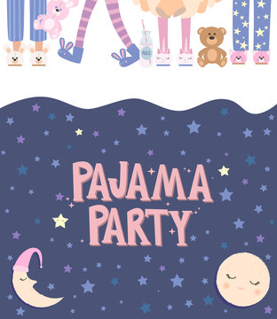 Pajama party poster with fun girls and. Invitation for slumber party. Editable vector illustration