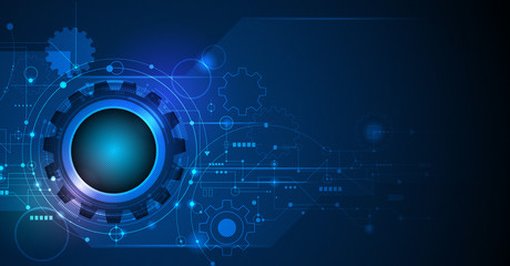 Wall Mural - Vector illustration gear, wheel and circuit board, Hi-tech digital technology and engineering, Modern digital telecoms technology concept. Abstract futuristic on dark blue color background