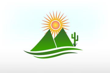 Mountains ,sun ,road and cactus logo vector