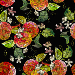 Embroidery apples seamless pattern. Fashion nature template for clothes, textiles, t-shirt design. Classical embroidery ripe apples on  branch, fruit concept