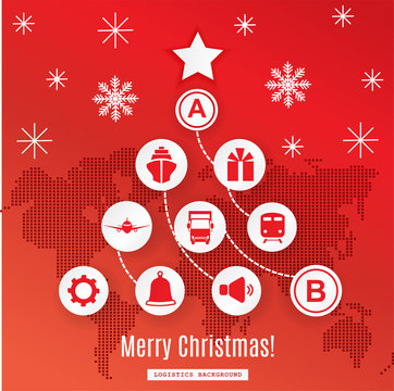 Christmas logistics card. Schematic christmas tree on schematic world map.White icons on red background.