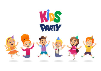 Boys and girls with birthday hats happily jumping with their hands up kids party