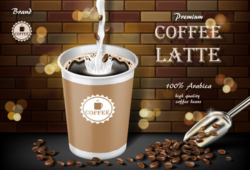Latte coffee cup with milk splash and beans ads. 3d illustration of hot arabica coffee mug. Product paper retro bag package design with brick background. Vector
