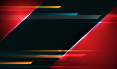 Wall Mural - Illustration of abstract red and black metallic with light ray and glossy line. Metal frame design for background. Vector design modern digital technology concept for wallpaper, banner template