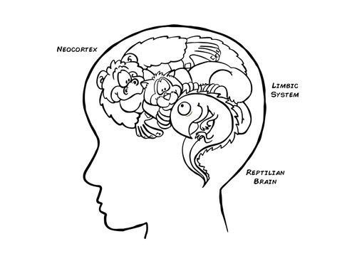 Triune Brain Black and White