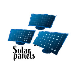 Vector collection of solar panels drawn in the technique of rough brush