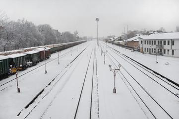 Railway track during heavy snowfall.