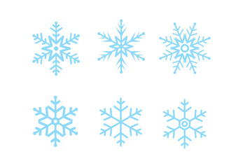 Set of blue Snowflakes icons  winter template