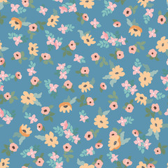 Small naive flowers seamless pattern. Chaotic order. Summer trendy floral background in liberty style. For textile, wallpaper, surface, print, gift wrap, scrapbooking, decoupage