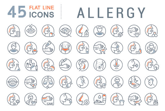 Set Vector Line Icons of Allergy.